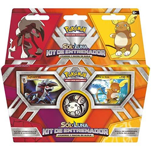 Cartas Pokémon Kit Entrenador POKÉMON SOL Y LUNA Juego de cartas coleccionables POKÉMON LYCANROC Y RAICHU DE ALOLA Kit de aprendizaje Juego para niños Cartas Pokémon en Castellano