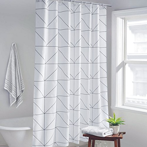 GWELL Karo Duschvorhang Badewannevorhang Wasserdicht Anti-Schimmel inkl. 12 Duschvorhangringe für Badezimmer 180x200cm