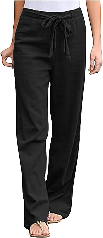 Fategear Summer Fashion Women Solid Color Cotton Linen Sashes Straight Casual Wide Leg Long Pants