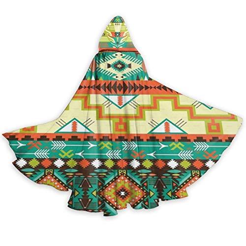 Amanda Walter Capa de Capa para Adultos Southwest Southwestern Navajo Abstracto Azteca Unisex de Longitud Completa con Capucha Capa Larga Capa Cosplay Disfraz