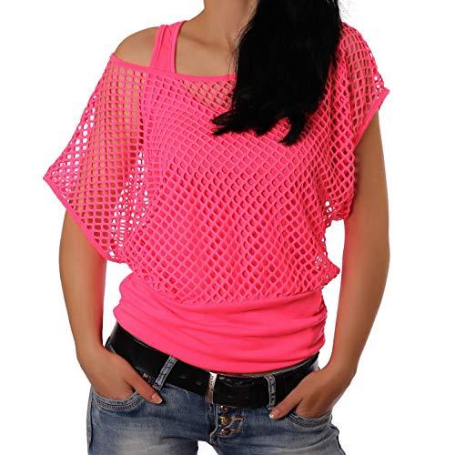 Freyday Damen Netzoberteil Sommertop Fasching Partytop in versch. Farben (L-XL,Pink)