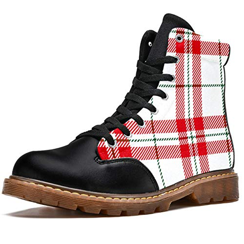 BENNIGIRY White Red Scottish Tartan Plaid Green Line Botas de Invierno Zapatos clásicos de Lona de caña Alta para Mujer