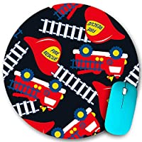 KAPANOU ラウンドマウスパッド カスタムマウスパッド、赤いヘルメットとトラックのシームレスなパターンで消防救助、PC ノートパソコン オフィス用 円形 デスクマット 、ズされたゲーミングマウスパッド 滑り止め 耐久性が 200mmx200mm