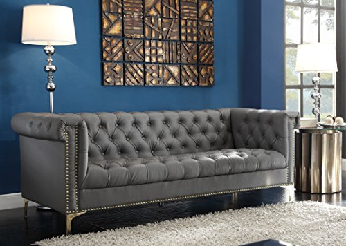 Iconic Home Grey Winston PU Button Tufted with Trim Gold Tone Metal Y-shaped Feet Sofa