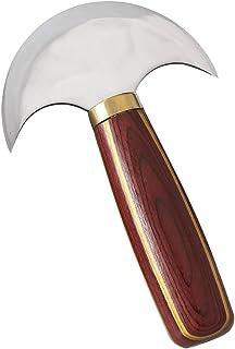 Cuchillo de Cuero de Media Luna con Mango De Sándalo Mango de Alta Velocidad de Acero Cuchillo de Cuero para Bricolaje Corte de Velero