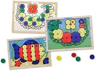 Melissa & Doug Sort and Snap Color Pairing Activity Board & 1 Scratch Art Mini-Pad Bundle (04313)