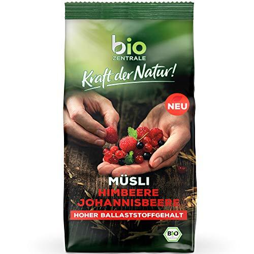 biozentrale Müsli Himbeere Johannisbeere   450g Bio Müsli Früchte   Ideal zum Frühstück und für den Müslibecher 2 go   Alternative zum Müsliriegel