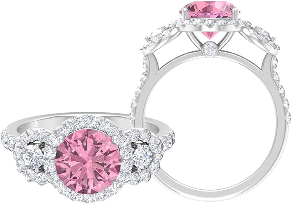 Mail order cheap 3.08 CT Pink Tourmaline Mail order Ring Halo D-VSSI Moissanite Three