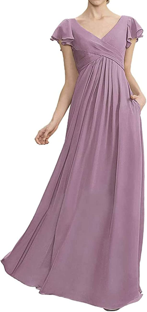 lgzymf Bridesmaid Dresses Long Evening Formal Gowns V Neck Maternity Dresses for Women with Ruffles Sleeves