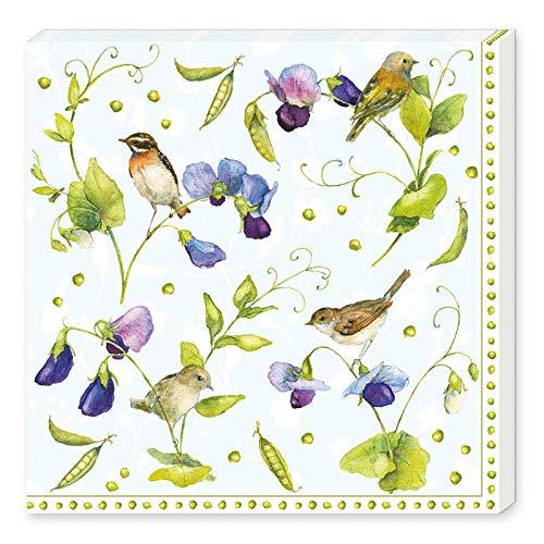 Grätz Verlag 20 Stück Servietten mit Blumen und Vögeln, Blume, bunt, weiß, blau grün, lila, Retro, Vintage, quadratisch