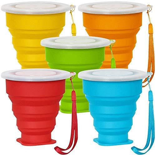 5 Pack Faltbarer Reisebecher mit Deckel, 6Oz Silikon Faltbarer Trinkbecher, SENHAI BPA frei einziehbar zum Wandern Camping Picknick - Blau, Grün, Gelb, Orange, Rot