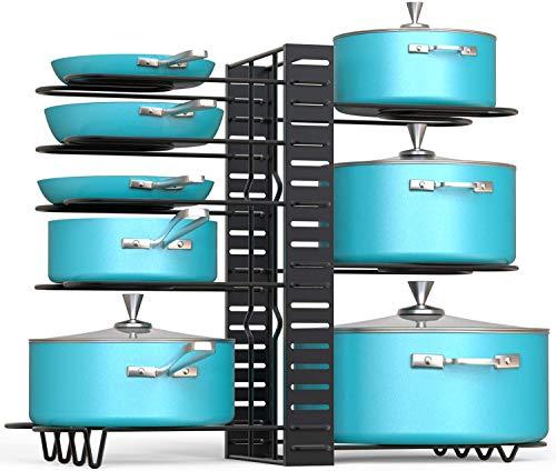 フライパンラック 鍋ラック 収納 キッチンラック 鍋蓋スタンド 多機能 シンク下収納ラック パンラック まな板 縦置 横置可能 隙間調節 雑巾5枚付き