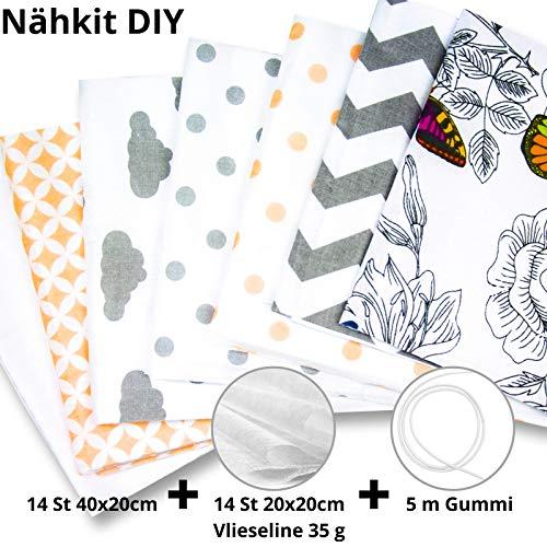 Tela de algodón por metro Paquete de tela 14 piezas 20x40 cm - Tejidos para coser Paquete de tela de retazos Restos de algodón Materiales de costura con caucho y no tejido