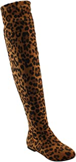 NATURE BREEZE FD99 Women's Over The Knee Tie Up Low Flat Heel Dress Boots, Color:LEOPARD, Size:8