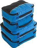 Packwürfel 4pcs Wert Set für Reisen - Plus 6pcs Gepäck Veranstalter Zip Beutel (Blue)