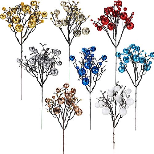 WILLBOND 8 Pieces Christmas Berry Twig Stem Artificial Holly Berries Picks Decorations Winter Berries Bunch Faux Berry Branches Christmas Tree Decoration Ornaments