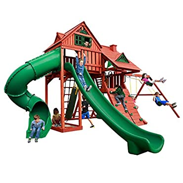 Gorilla Playsets 01-0044 Sun Palace Deluxe Wood Swing Set with 2 Slides, Tire Swing, and Punching Bag