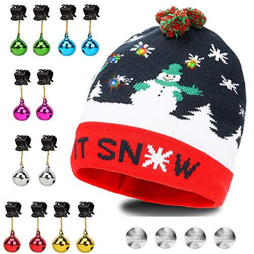 Qpout Sombrero LED Light Up Sombrero Beanie Gorro Adornos de Barba, Sombrero Colorido LED Christmas Christmas Hat, Sombrero de Sombrero de Nieve Invernal Sombrero Feo Sombrero Beanie Cap