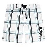 Hurley Boys' Big Board Shorts, White Plaid, 16