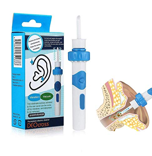 Removedor de cera para oídos, limpiador eléctrico de oídos, aspiradora de eliminación de cera para oídos, kit de eliminación de cera de oído eléctrico con 2 cabezales de repuesto de silicona