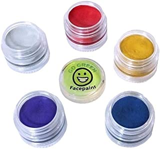 Go Green Face Paint - 5 Color Certified Organic Kit for Kids - The Safest Set for Skin Type - Resealable and Reusable - for Painting Many Faces During Halloween - 36 Month Shelf Life