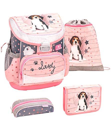 Belmil ergonomischer Schulranzen Set 4 -teilig für Mädchen 1, 2 Klasse Grundschule/Super Leicht 750-800 g/Brustgurt/Hund, Sterne/Rosa, Grau (405-33 Lovely Beagle)