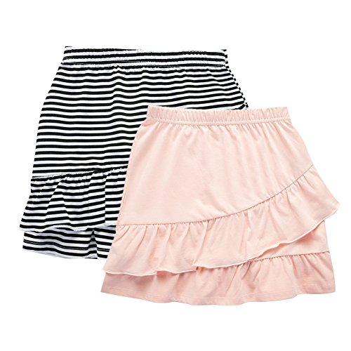 UNACOO 2 Packs Cotton Tiered Ruffle Skirt with Elastic Waistband for Girls(Black/White Stripe+Pink, m(7-8 Years))