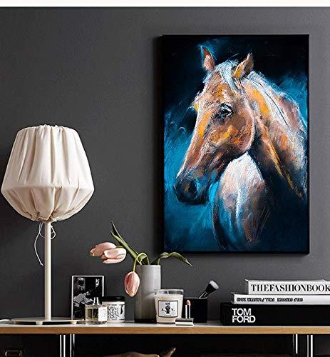 Abstracte kleurrijke krijttekening paard canvas woonkamer slaapkamer gang studio cafe print moderne kunst aan de muur frameloze schilderij 30x40cm
