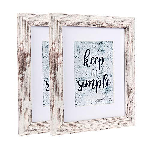 Home&Me 8x10 Picture Frame RottenWhite 2 Pack- Made to Display Pictures 5x7 with Mat or 8x10 Without Mat - Wide Molding - Wall Mounting Material Included