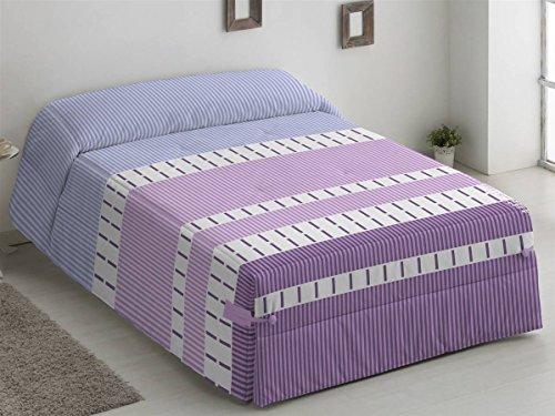 Camatex - Conforter Alaska Cama 90 - Color Malva (edredón de Acolchado Grueso época de frío con Cintas y Botones como Sistema de Ajuste)