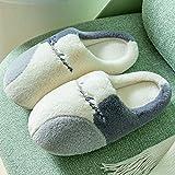 Men's Women's Comfort Anti-Slip Slippers Home Warm Slippers Winter Plush Cotton Shoes-Light Gray_UK8.5-UK9 Men's Women's...