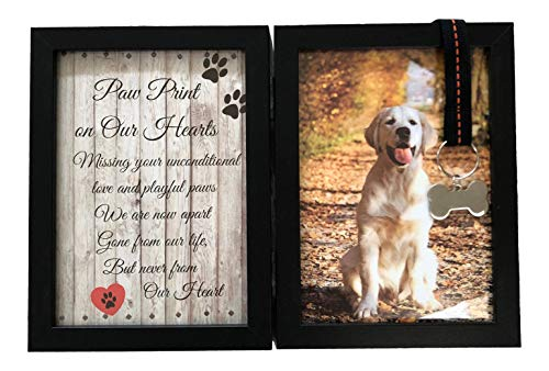 Pawprints Remembered Pet Memorial 5'x7' Picture Frame for Dog or Cat with Ribbon and Tag - Features a Folding Photo Frame and Sympathy Poem - Loss of Pet Gift