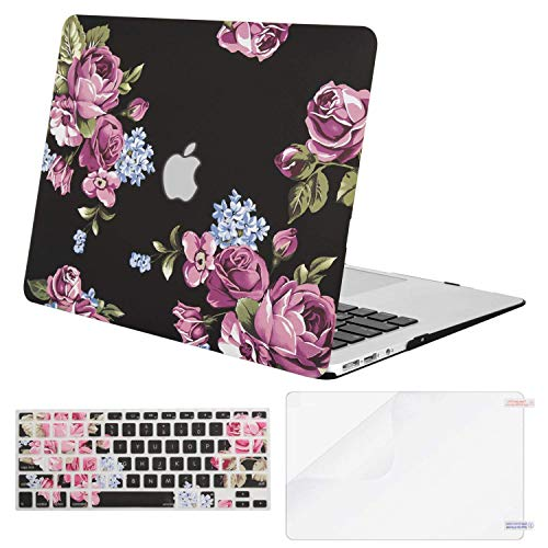 MOSISO Compatible with MacBook Air 13 inch Case (Models: A1369 & A1466, Older Version 2010-2017 Release), Plastic Pattern Hard Shell Case & Keyboard Cover & Screen Protector, Purple Peony