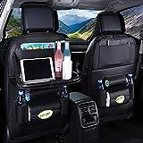 X/Y Car Back Seat Organizer,9 Storage Pockets Car Seat Organizer With Foldable Table Tray Tablet Holder,3rd Generation Car Organizer and Storage Protectors Kick Mats for Kids (Black 1Pcs)