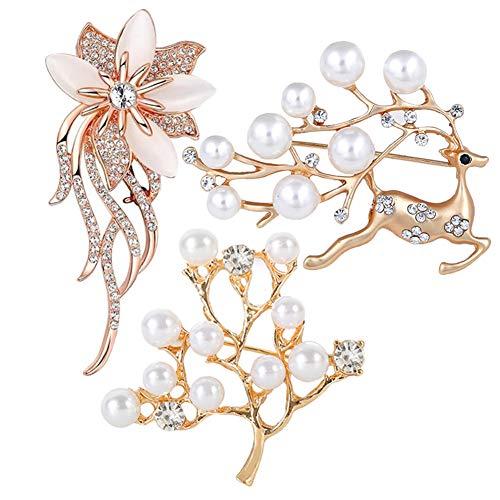 SUNSK Brosche Gold Damen Perle Broschen Anstecknadeln Bouquet Broschen Kleidung Schmucknadel Hochzeiten Weihnachten Partys Schmuck Geschen 3 Stücke