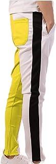Men Stripe Track Pants Skinny Fit Harem Trouser Elastic Jogger