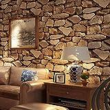 Papel Pintado 3D 0,53 x 10 m Piedra Vinilos de Pared Decorativos 3D Papel Pintado Pared no Autoadhesivo 3D Piedra Revestimiento de piedra para cocina dormitorio armarios,MarróN