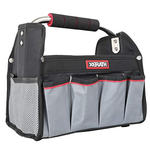 XERATH Open Top Tool Bag, Multiple Size(12, 16, 20 inch) Tool Carrier Equipped with Internal Structure and Wear-Resisting Base, Inside Hang Design and Outside Pockets for Tool Storage (12-Inch)