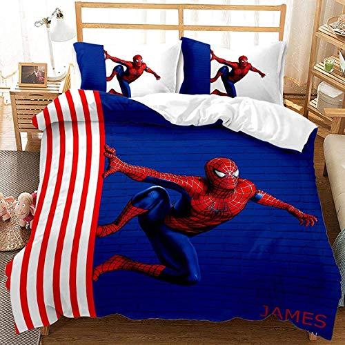 QWAS Marvel Spiderman, set di biancheria da letto per bambini, in microfibra (X01,135 x 200 cm + 50 x 75 cm x 2)