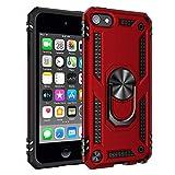 BestST Funda iPod Touch 5/6/7 con Anillo Soporte,+ HD Protectores de Pantalla,2in1 Dura PC + Suave TPU Silicona Carcasa Híbrido Armadura Bumper Case Cover para Apple iPod Touch 5/6/7 -Rojo