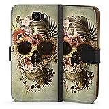 DeinDesign Étui Compatible avec Huawei Y6 II Compact Étui Folio Étui magnétique Tête de Mort...
