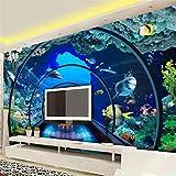 Papel Tapiz Personalizado Murales 3D Mundo Submarino Acuario Fondo Estéreo Pintura De Pared Sala De Estar Dormitorio Papel Tapiz,350*256Cm