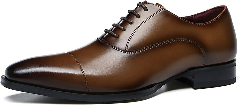 Men's Oxford Commuting Dress Shoes Leather Shoes Lace-up Shoes Breathable Business Shoes