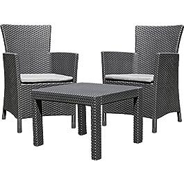 ALLIBERT 219992 Rosario Balcony Set Lounge composé de 2 fauteuils et d'une Table en Plastique à l'aspect de rotin…