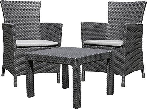 Allibert 219992 Lounge Set Rosario Balcony 2x Sessel und 1x Tisch, Rattanoptik, Kunststoff, graphit
