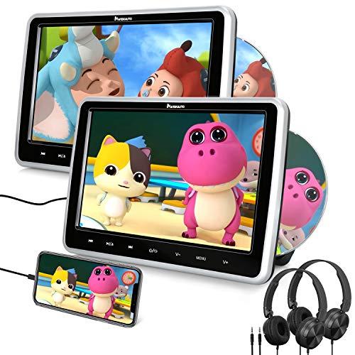 """10.1"""" Reproductor de DVD para Coche con 2 HD Pantallas, Soporte HDMI, DVD para Reposacabezas con Auriculares soporta Tarjeta SD, USB para Niños en Viajes - NAVISKAUTO"""