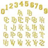 WD&CD 62 Piezas Parche Ropa Bordado, números Divertidos 0-9 A-Z Bricolaje Bordado Ropa Parches Coser en Hierro en para la Camiseta Jeans Ropa Bolsa - Oro