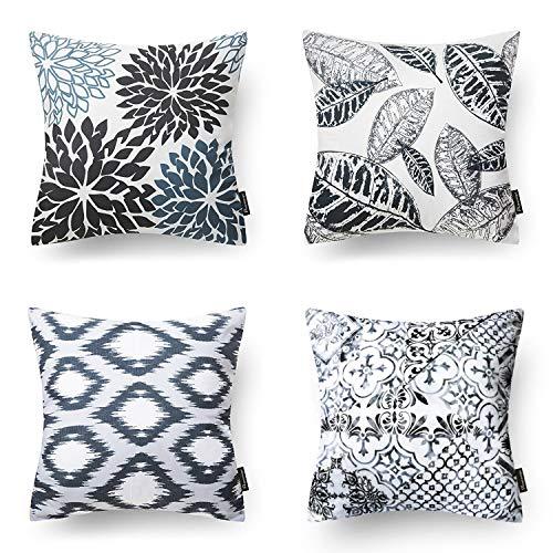 "Phantoscope New Living Series Decorative Throw Pillow Case Cushion Cover Black 18"" x 18"" Set of 4"