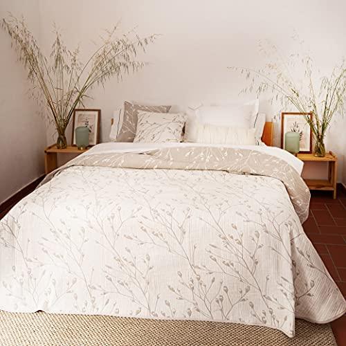 LA MALLORQUINA Colcha de Piqué - Malia (Cama 135 cm - 230x260cm - Crudo) | Colchas de Lujo y Diseño de Algodón