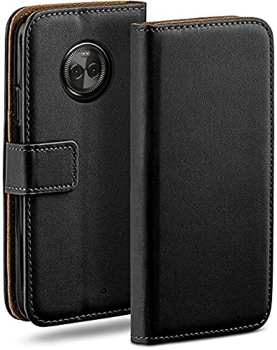 moex Klapphülle für Motorola Moto X4 Hülle klappbar, Handyhülle mit Kartenfach, 360 Grad Schutzhülle zum klappen, Flip Hülle Book Cover, Vegan Leder Handytasche, Schwarz